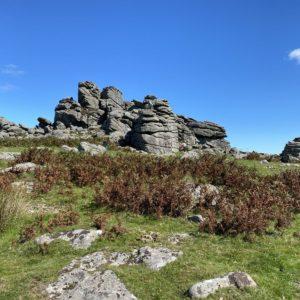 Hound Tor Rock on Dartmoor with climbers